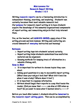 Writing Workshop Research Report Writing