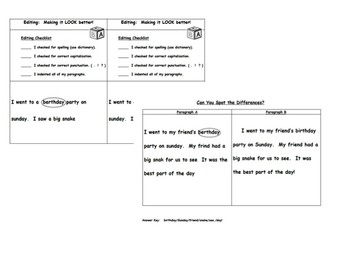 Writing Workshop:  Revising & Editing Lessons & Differentiated Activities