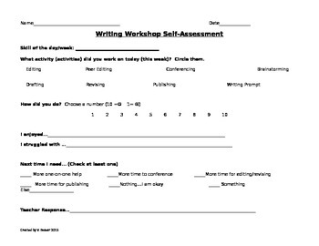 Writing Workshop Self-Assessment