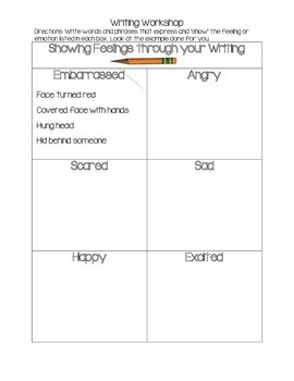 Writing Workshop: Showing Feelings through your Writing