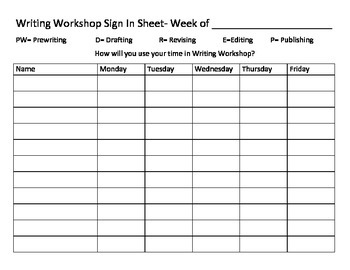 Writing Workshop Sign In Sheet for 25 Students