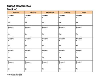 Writing Workshop Simple Conferring Grid