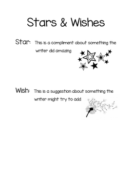 Writing Workshop Stars and Wishes (compliments and suggestions)