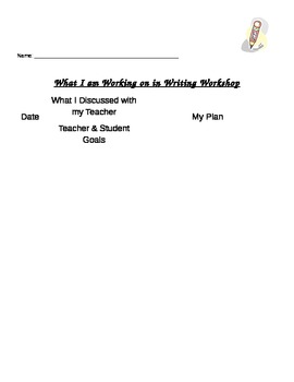 Writing Workshop Student Conference Sheet