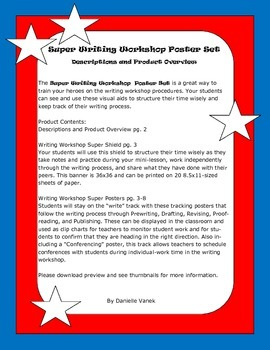 Writing Workshop Super Poster Set: Schedule Shield and Student Tracking Posters