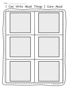 Writing Workshop {Things I Care About} Tool Sheet to Inspire Young Writers
