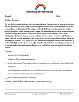 Writing Workshop Units of Study Parent Progress Report 1st Grade Writing Reviews