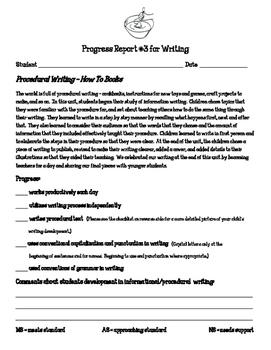 Writing Workshop Units of Study Parent Progress Report Kin