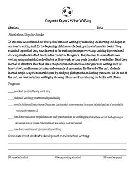 Writing Workshop Units of Study Progress Report Nonfiction
