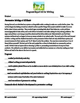 Writing Workshop Units of Study Progress Report Persuasive