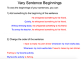 Writing Workshop - Varying Sentence Beginnings