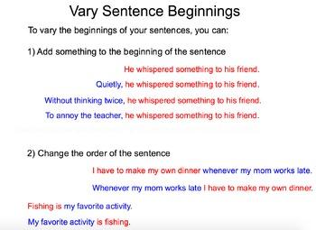 Writing Workshop - Varying Sentence Beginnings