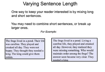 Writing Workshop - Varying Sentence Length