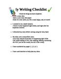 Writing Workshop Writing Checklist
