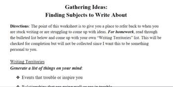 Writing Workshop -- Writing Territories