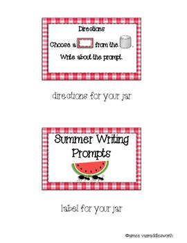 Writing Workstation Jar of Summer Writing Prompts