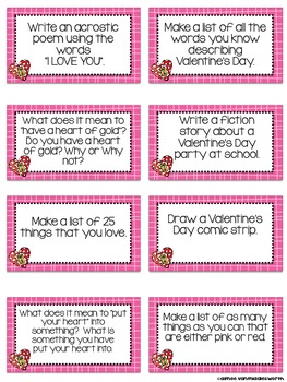 Writing Workstation Jar of Valentine's Day Writing Prompts