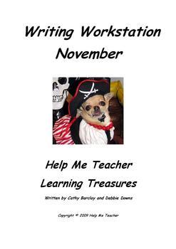 Kindergarten Writing Workstation - November Words - Help Me Teacher