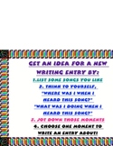 Writing Writer's Workshop Notebook Entry Small Moment Idea Chart