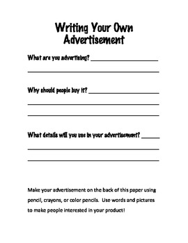 Writing Your Own Advertisement Worksheet