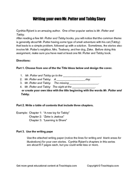 Writing Your Own Mr. Putter and Tabby Story