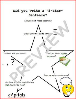 Writing a 5 Star Sentence (small poster)