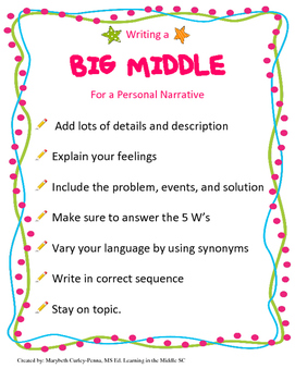 Writing a BIG MIDDLE for Personal Narratives