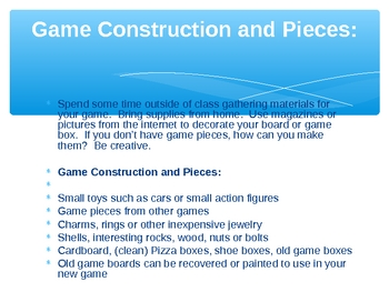 Writing a Board Game - A Creative Writing Project