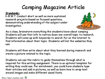Writing a Camping Magazine Article