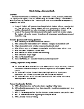 Writing a Character Sketch Unit Overview