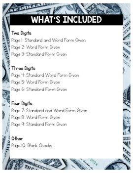 Writing a Check: Place Value Word Form with Cursive Practice