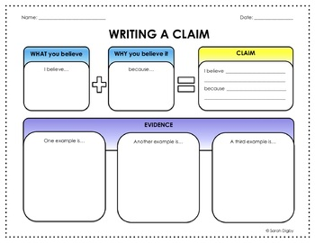Writing a Claim: Graphic Organizer (Color and BW Versions!)