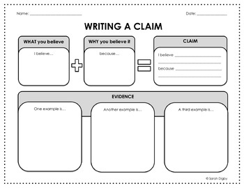 Writing and Constructing a Claim – Two Graphic Organizers (English)