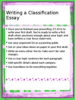 Writing a Classification Essay