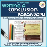 Writing a Conclusion Paragraph, Paragraph Writing Reference Sheet