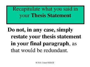 Writing a Conclusion to your Essay PPT