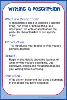 Writing a Description Cheat Sheet