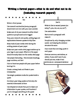 Writing a Formal Paper - What to do and what not to do