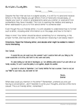 Writing a Friendly Letter -- Template for Personal Letters