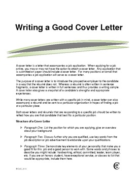 Writing a Good Cover Letter Sample by cathleen hanson | TpT