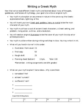 Writing a Greek Myth- Directions and Rubric