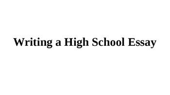 Writing a High School Essay