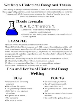 Writing a Historical Essay and Thesis