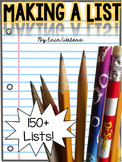Writing a List {150+ Lists}