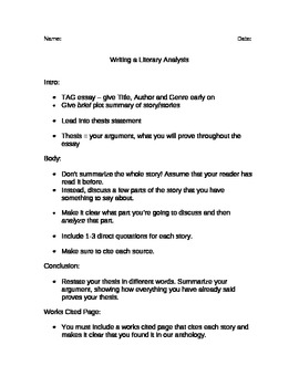 Writing a Literary Analysis Handout