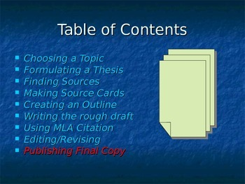 Writing a MLA Style Research Paper