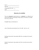 Writing a Memoir - Prewriting