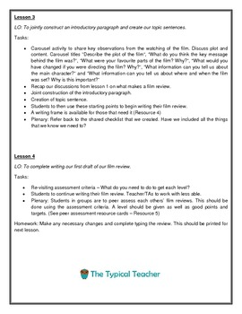 Writing a Movie/ Film Review Unit Plan Lessons Writing Frames Differentiated
