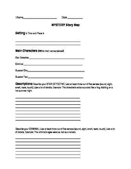 Writing a Mystery Story Graphic Organizer