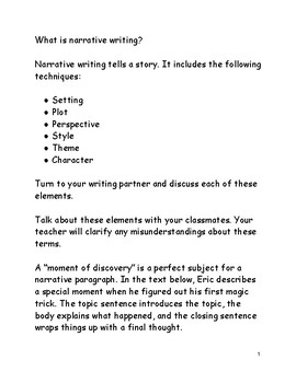 Writing a Narrative Paragraph
